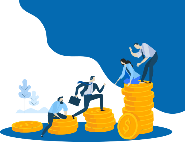 Funding image concept with multiple clients surrounding the graphic