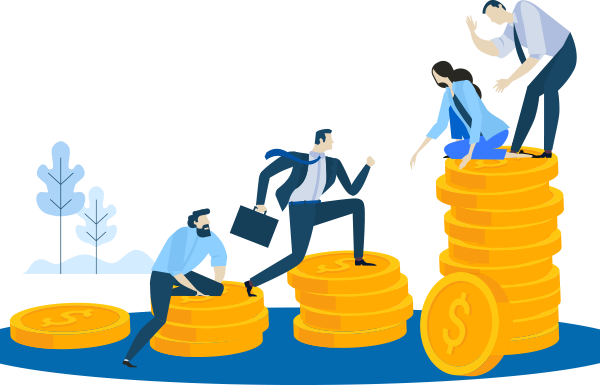 Graphic representing people finding business success after funding