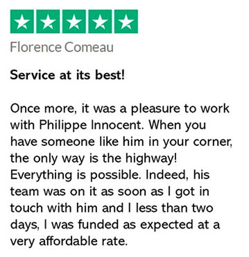 Trustpilot screenshot of a client testimonial